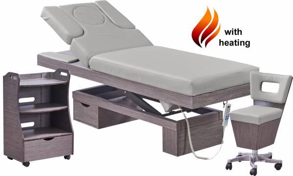 Massagekabine 923815H Wellnessliege, Beistelltisch, Arbeitsstuhl grau