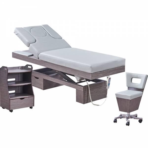 Massagekabine 923815 Wellnessliege, Beistelltisch, Arbeitsstuhl grau