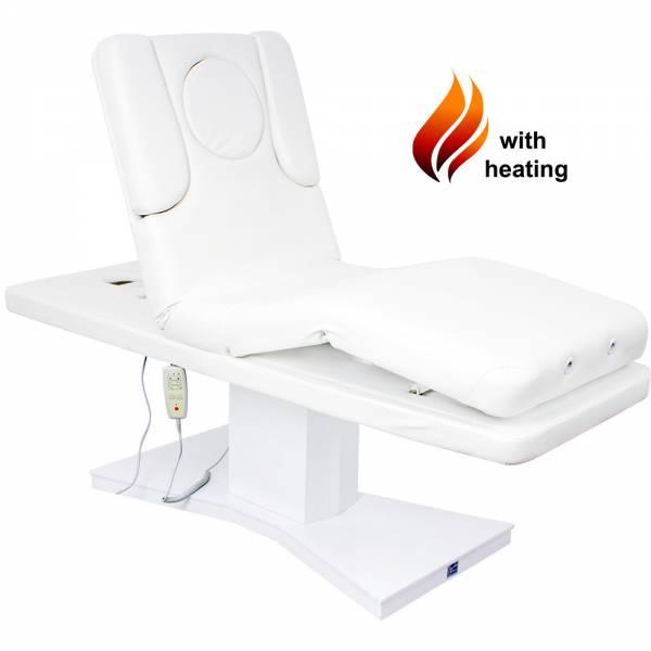 003805H Elektrische Massageliege Wellnessliege weiß mit Heizung