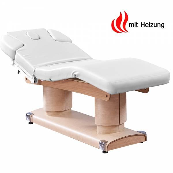 033838H Massageliege Weiß / hell Holz mit 4 Motoren & Heizung