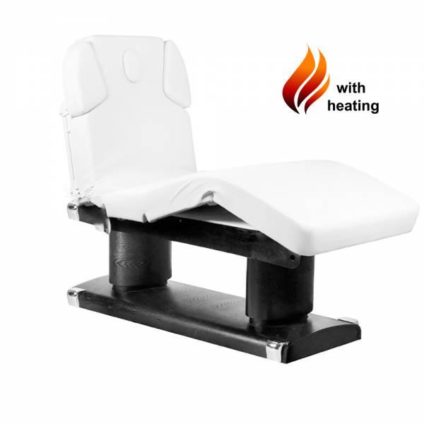 053838H Table de massage noir / blanc avec 4 moteurs chauffants et mémoire